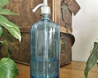 Antique French Blue Glass Seltzer Bottle
