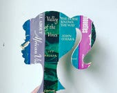 Vintage Book Spine Wall Hanging - Handmade with vintage book dust jacket spines - Silhouette, Mermaid, Custom States, Teapot Shapes