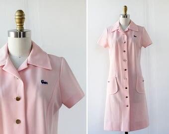 60s Mod Dress XS/S • Polo Dress • Lacoste Dress • Pastel Pink Dress with Pockets • Tennis Dress • David Crystal Dress | D1246
