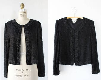 Black Beaded Jacket S/M • 80s Jacket • Vintage Jacket • Swing Jacket • Boxy Jacket • Evening Jacket  | O431