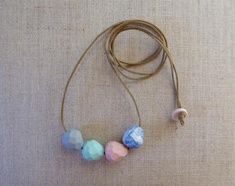 Faceted Droplet Porcelain Necklace