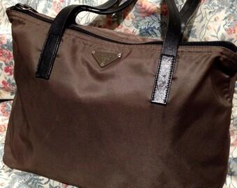 Blowout Sale. Vintage PRADA Nylon & Leather Brown Shoulder Petite Tote Bag. Authentic.