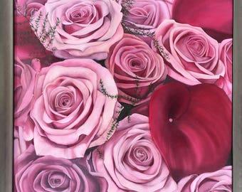 Bouquet of Roses & Arum - Original Oil Painting