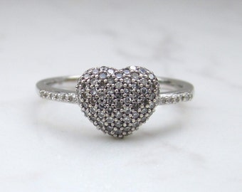 Estate 14k Solid White Gold Pave Diamond Hear Cluster Ring, Size 6.5 // Heart Ring // Valentine's Day // Love //