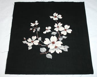 Rare Pristine Dogwood Flowers on Black Unused Wilendur Vintage Tablecloth Fabric Piece for Pillow or Projects — Design #1 — 17 x 17 Inches