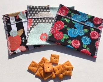 Reusable Snack Bag Set FREE SHIPPING Set of 3 Black Gray Flowers