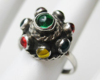 Vintage Ring Taxco Mexican Sterling Silver Jeweled Glass Dome Ring size 5