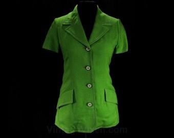 Size 10 Lime Jacket - 1970s Designer Geoffrey Beene - Late 60s 70s Beene Bazaar - Mod Green Tailored Blazer - Short Sleeve - Bust 36 - 47649