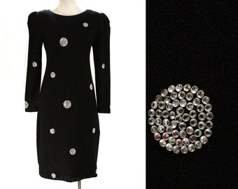 Size 10 Designer Dress - Gorgeous Black Knit with Rhinestone Bubbles by Adolfo - 1980s New York Label - 80s Long Sleeve - Bust 35.5 - 47912