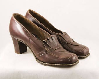 Size 6 Brown 30s Shoes - 1930s 1940s Secretary Style Cognac Leather Pumps - 6 AA Deco Deadstock Loafer Heels - Fall Autumn - 48024-1