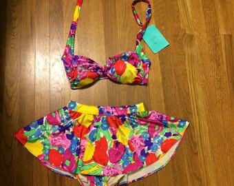 Size 12 vintage new with tags esther williams skirted swim bikini suit medium large