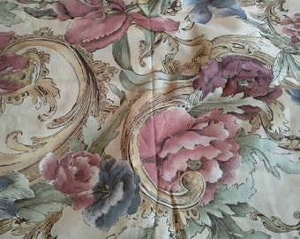 Large Print Pink and Blue Floral Decorator Cotton Fabric Almost 3 Yards X0680