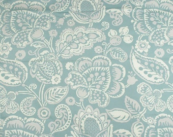 Blue gray canvas cotton fabric Floral Folklore pattern by meter