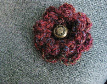 Crochet Flower Pin- Flower Pin- Flower Brooch-Burgundy Crochet Flower-Crochet Flower with Button-Crocheted Pin-Maroon Crochet Brooch