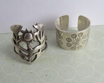 Two VINTAGE Modernist Sterling SILVER 1970s Decorative Floral  RINGS