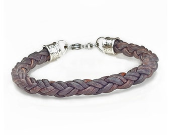 Braided Leather Bracelet for Men, BROWN Leather and Silver Bracelet, Custom Men's Leather Bracelet, Elegant Bracelets for Men, Mens Bracelet
