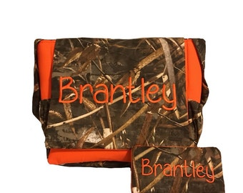 Max 5 duck hunter camouflauge  CAMO fabric and Orange Embroidered Diaper Bag & wipes case with free name monogram