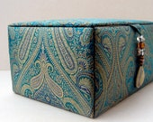 green silk jewelry box, decorative storage box, keepsake box, trinket box