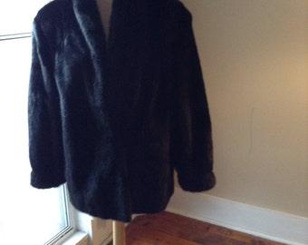 Vintage Black Mink Coat Jacket Sz Medium