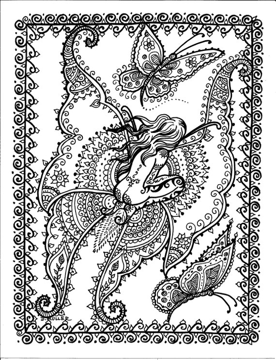 Butterfly fairy instant download fantasy art adult coloring for Butterfly fairy coloring pages