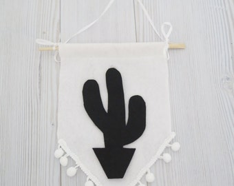 Felt flag , cactus flag , cactus banner , black and white wall art , black and white room