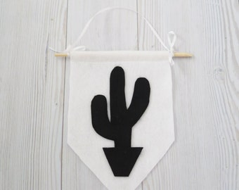 Felt flag , cactus flag , western banner , cactus banner , black and white wall art , western party
