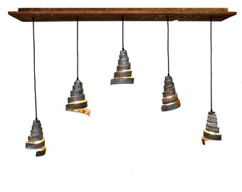 """RUSTIC - """"Vachellia"""" - Reclaimed Barn Wood and Wine Barrel Ring - Adjustable Flush-Mount Chandelier - 100% RECYCLED"""
