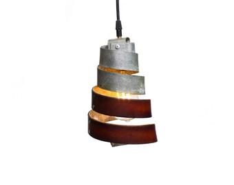 Leather and Barrel Ring CORBA MANACLE Pendant Light