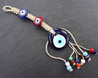 Fun Multicolor Turkish Evil Eye Wall Hanging Home Garden Decoration with Blue and Red Evileye Traditional Artisan Beads - No:2