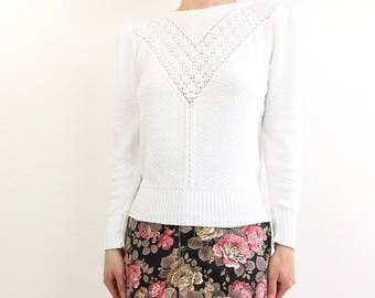 VINTAGE White Sweater 1970s Pointelle Knit Top