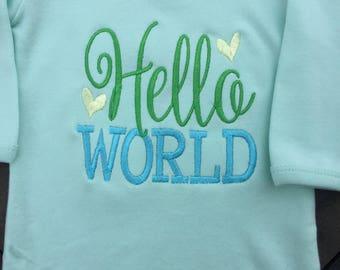Hello World Baby Gown, Hello World, Hello World New Baby, Unisex Baby Gift, Cute Baby Gift, Custom Baby Gift, Hello World Bodysuit