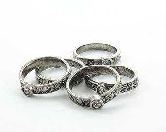 Boho Crystal Stacking Rings - 5 Pc Lot