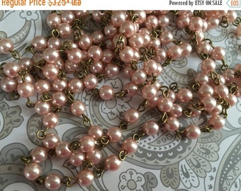 SALE NEW CHAIN handmade beaded Faux glass pearl pale pink peach link rosary French Finery vintage style footage chain