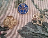 Vintage Lot of 3 Girl Scouts Pins Blue Enamel Gold Tone Metal