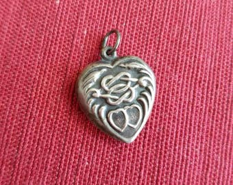 Vintage Antique Sterling Silver Puffed Heart Pendant Charm Love Knot Two Hearts
