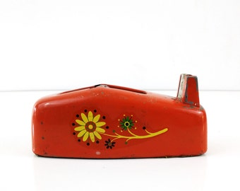 Red Scotch Tape Dispenser with Flowers / Retro Office Decor