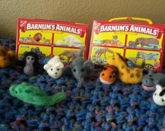zoo needle felted animal crackers set