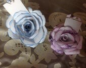 10 Handmade Paper Roses for Gift Toppers, Placecards, or cupcake Toppers