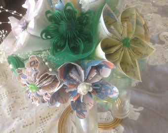 Emerald Green Origami Map Bouquet