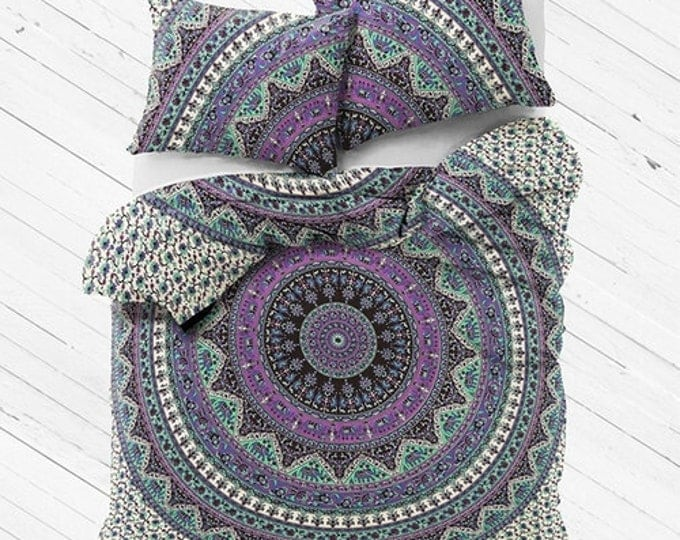 Purple and Sage Mandala Duvet Cover Tapestry Boho Bedding Or Flat Sheet Set with Matching Pillowcases Gypsy Dorm Room Bedding Beach Yoga