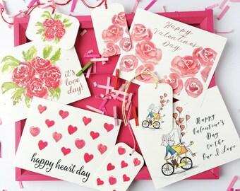 Valentines Day Gift Set // Valentines Notecards, Valentine Gift Tags, Valentine Confetti / Glittered Illustrations + Bonus Festive Fetti Bag