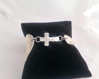 Cross bracelet, faith inspired, spoon bracelet,  silver jewelry, gifts for her, valentines day