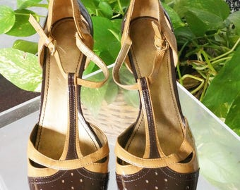 Free Shipping! Vtg. FRANCO SARTO Brown and Tan T Strap Mary Janes in Patent Leather- Size 8.5