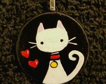 Here kitty kitty White OOAK Hand Painted Pendant