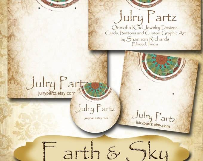 EARTH & SKY Series 4•Custom Tags•Labels•Earring Display•Clothing Tags•Custom •Boutique Card•Tags•Custom Tags•Custom Labels