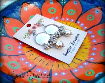 Shiny Sterling Silver Cluster Earrings, Modern Round Domed Disk Earrings, Pyrite Earrings, Handforged Metalwork Earrings, Handmade Jewelry