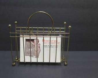Mid Century Modern Brass Wire Letter/ Napkin Holder Ball Feet