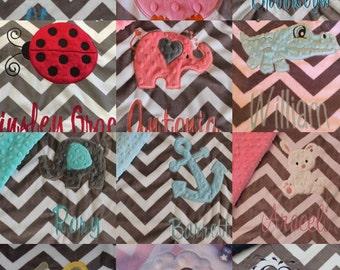 Baby blanket, Blanket, Personalized blanket, minky blanket, Appliqued blanket, 29 x 35, Design your own