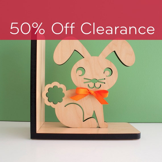 SALE! CLEARANCE 50% OFF! Bunny Wood Bookend- Modern Baby Nursery Children