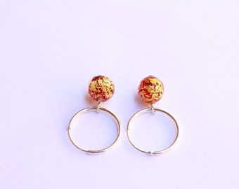 Copper Red Murano Hoops, Venetian Murano Glass, Sterling Silver Hoops, Ready to Ship